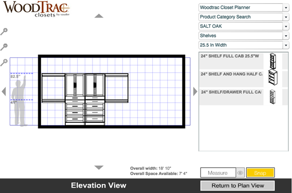 Design a closet closets woodtrac by sauder for Woodtrac closets